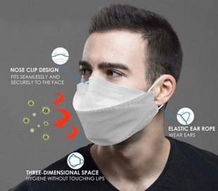 ماسک تنفسی KN95 مدل Fish Type - چند بار مصرف - سه عددی